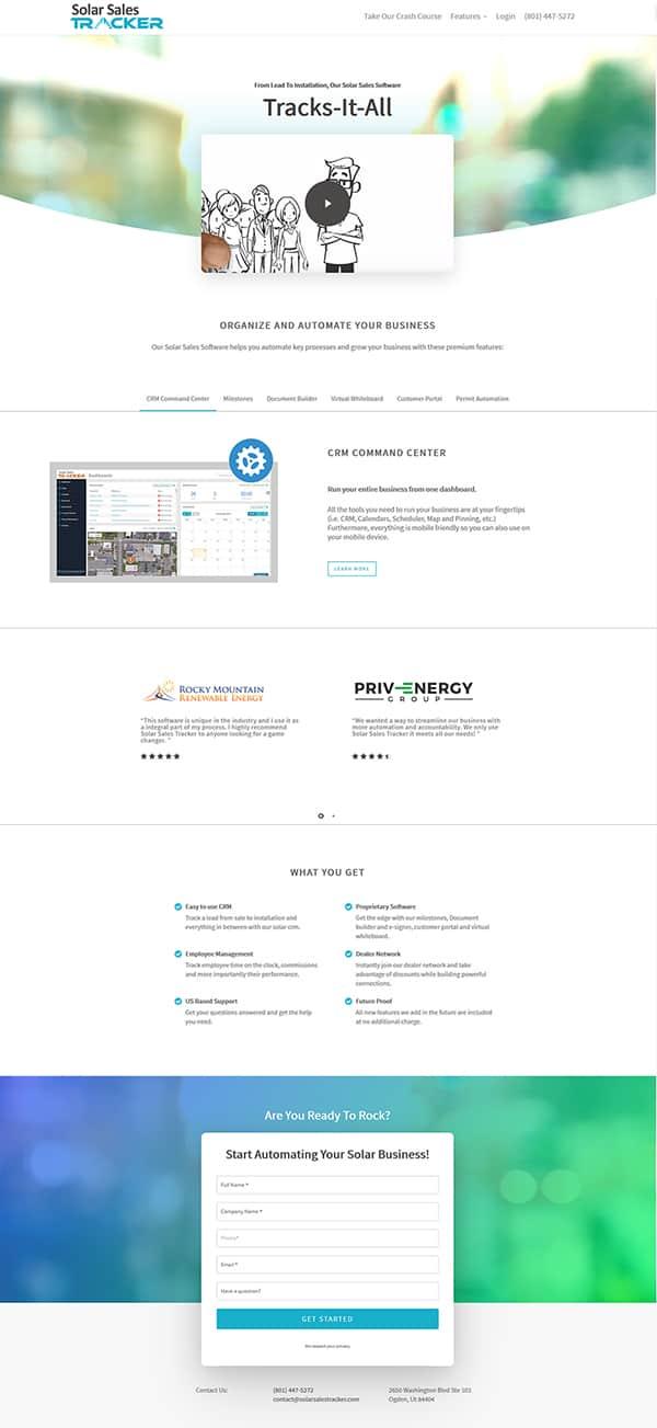 Solar Sales Tracker Website Design